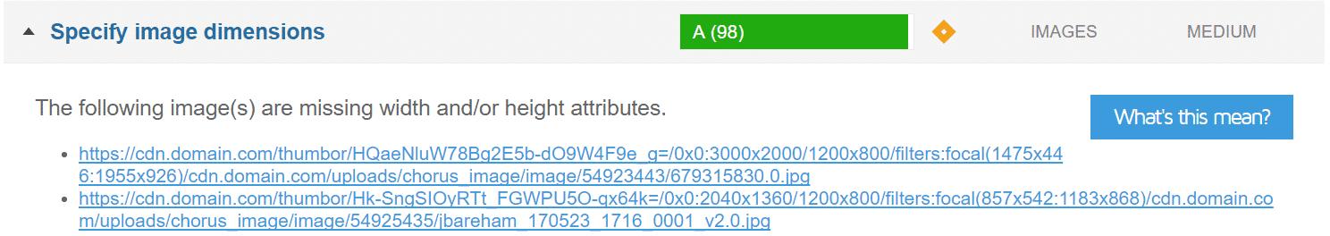 GTmetrix especifica as dimensões das imagens