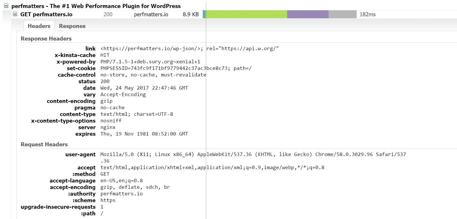 Cabeçalho de resposta HTTP no GTmetrix