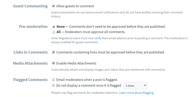 Moderação de comentários do Disqus