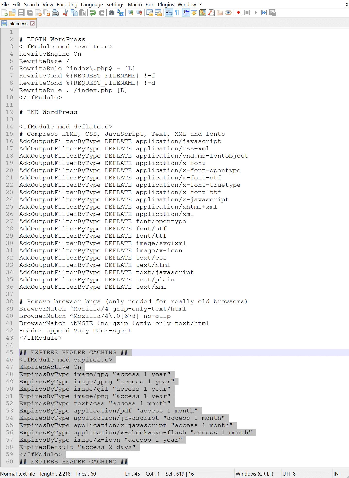Adicionar cabeçalhos Expires ao .htaccess