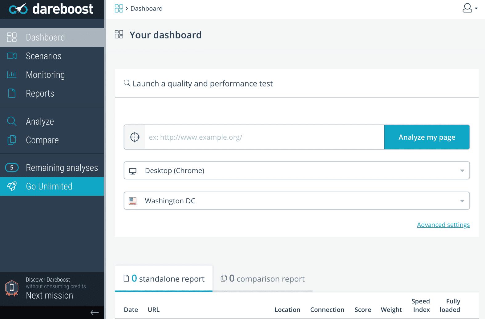 Ferramenta de teste de velocidade de websites DareBoost