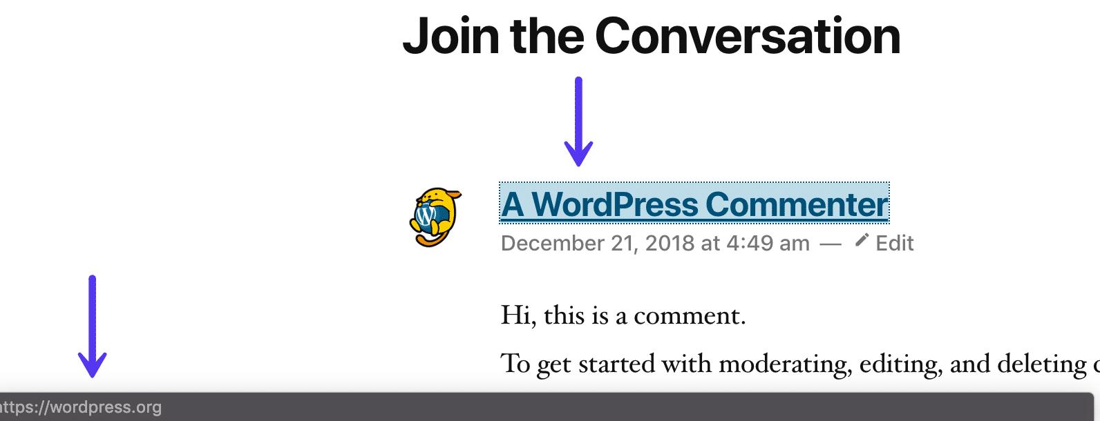 Link do autor do comentário WordPress
