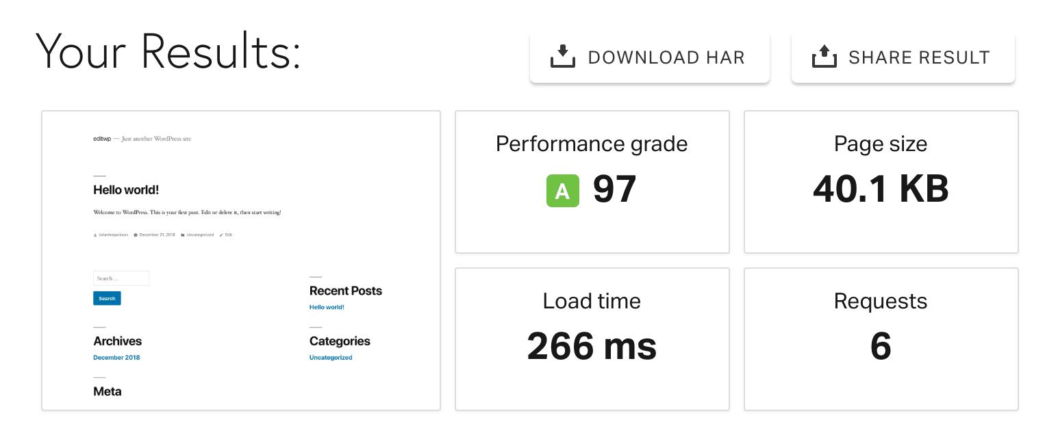 Teste de velocidade com cache