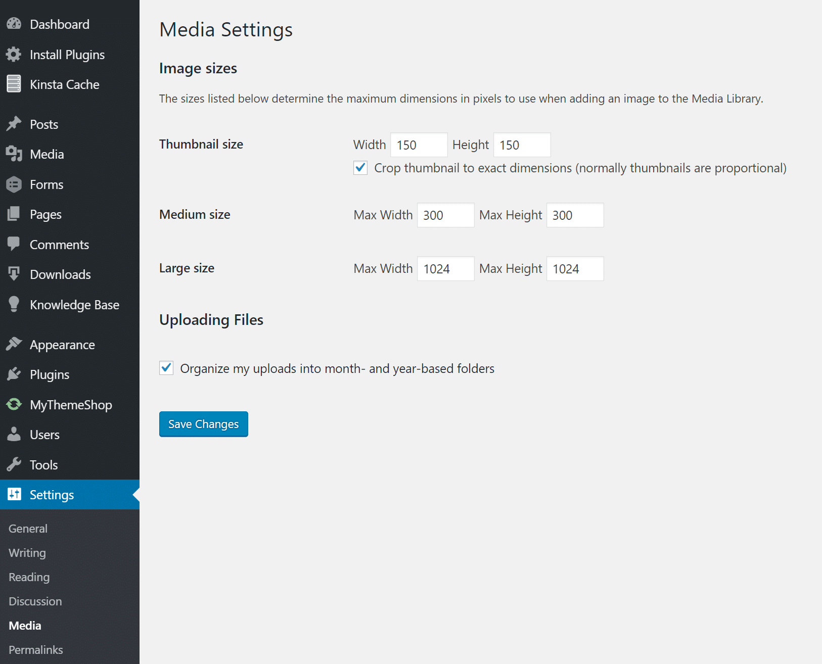 Configurações de mídia WordPress