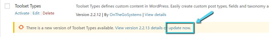 """Atualizar agora"" o plugin WordPress"