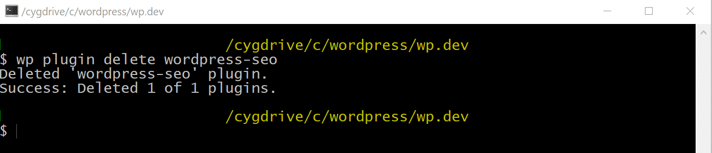 Excluir o plugin WordPress via WP-CLI