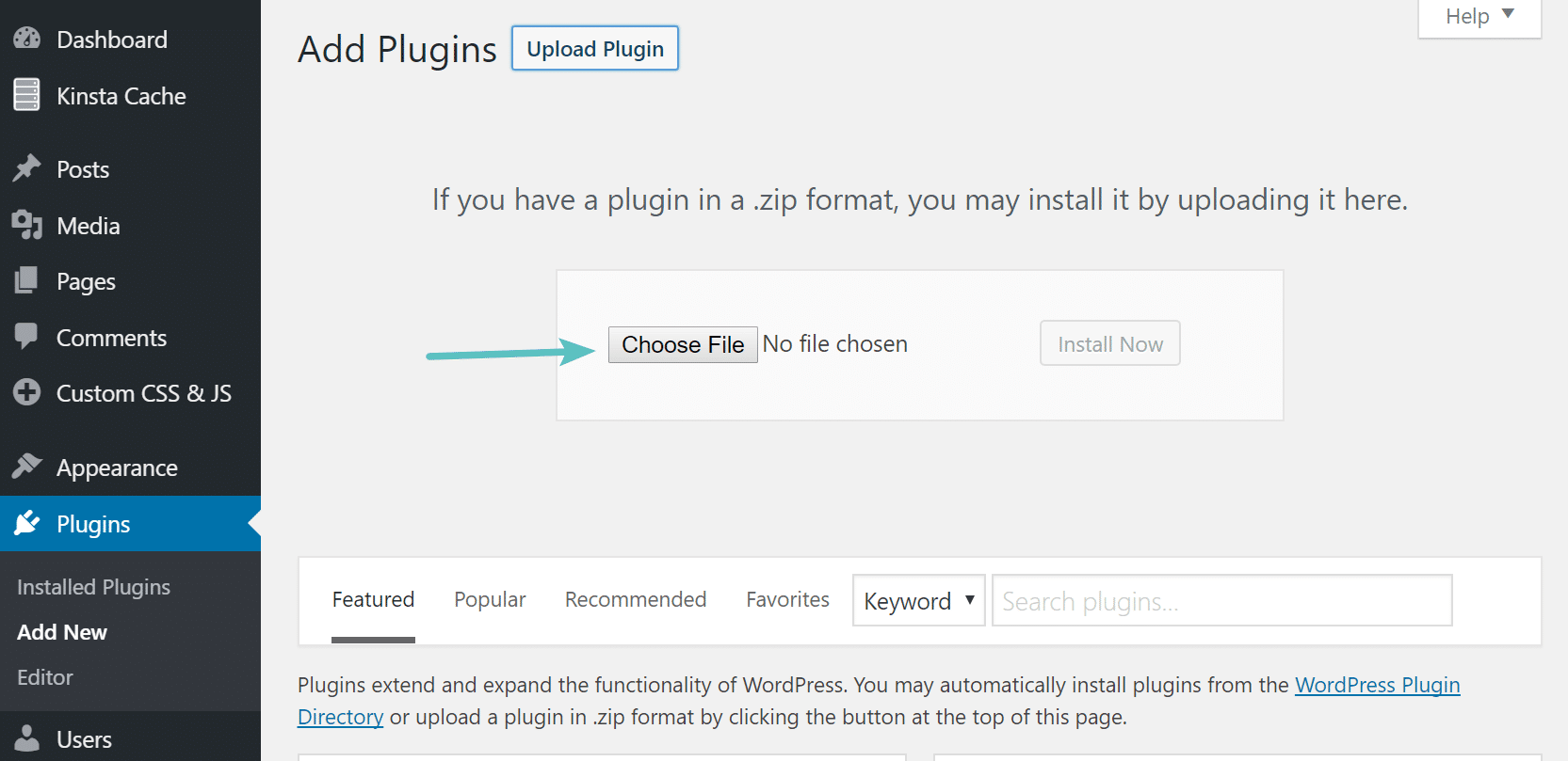 Instalar o arquivo.zip do plugin WordPress