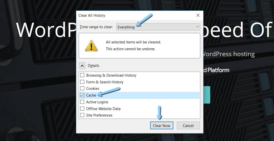 Limpar o cache de navegador no Mozilla Firefox