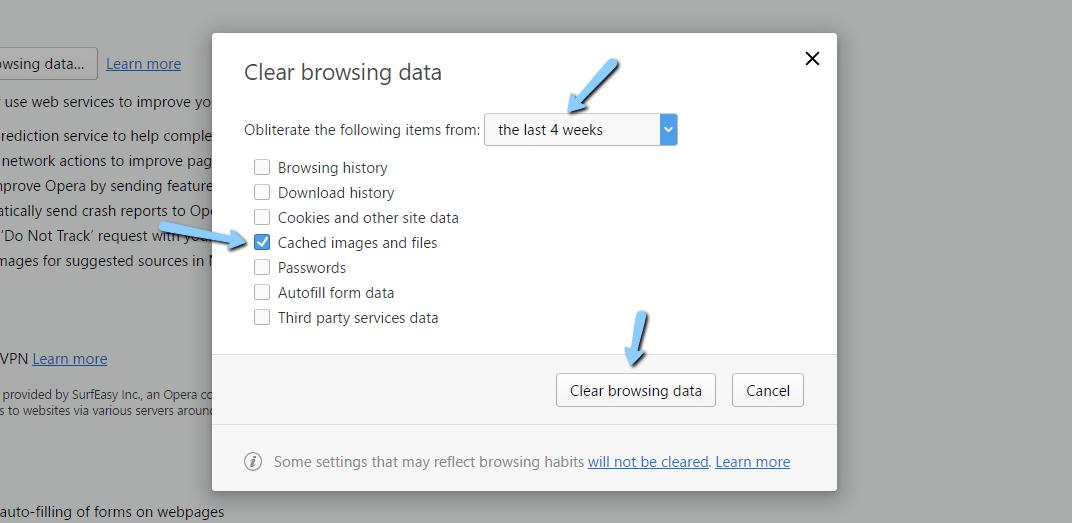 Limpe o cache do navegador no Opera