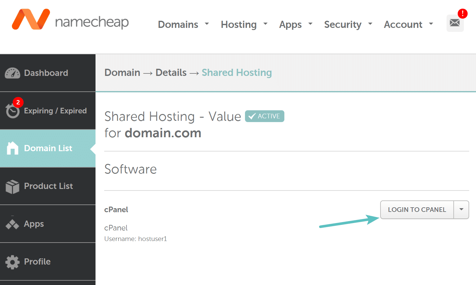 Exemplo do link cPanel no NameCheap