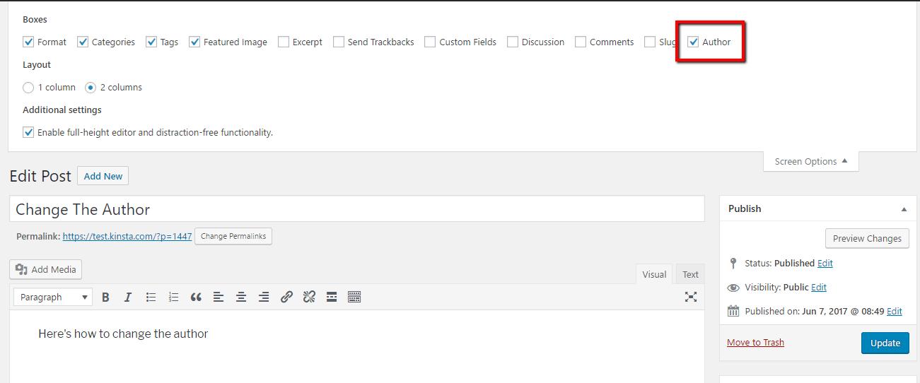 Mostrar opções de autor no Editor WordPress
