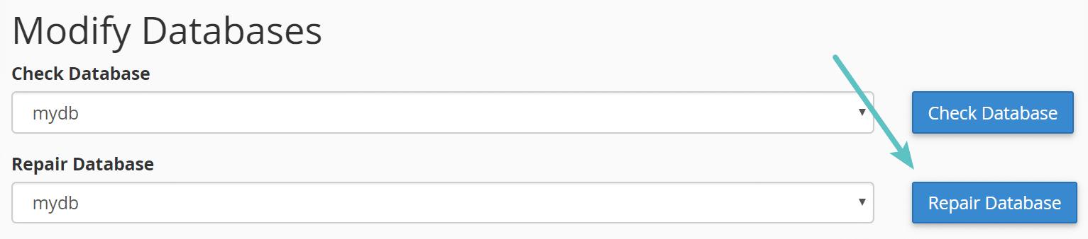 Reparo de banco de dados no cPanel