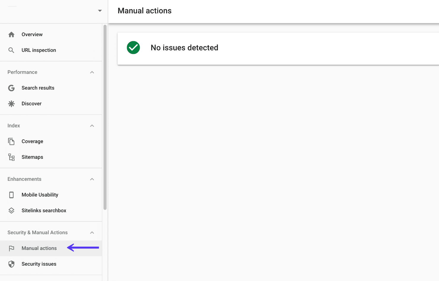 Ações do manual do Google Search Console