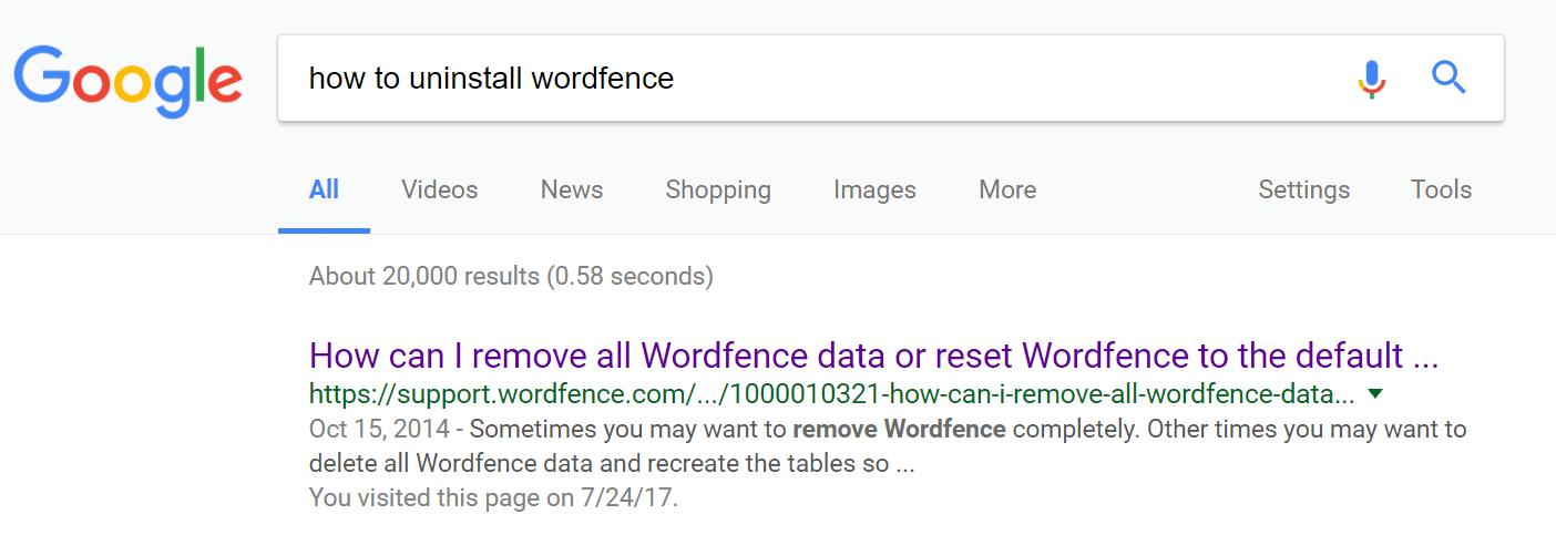 Como desinstalar o Wordfence