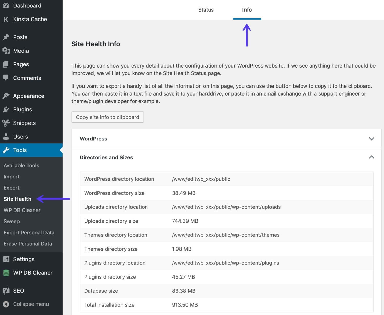 Diretório e tamanhos do Site Health tool WordPress