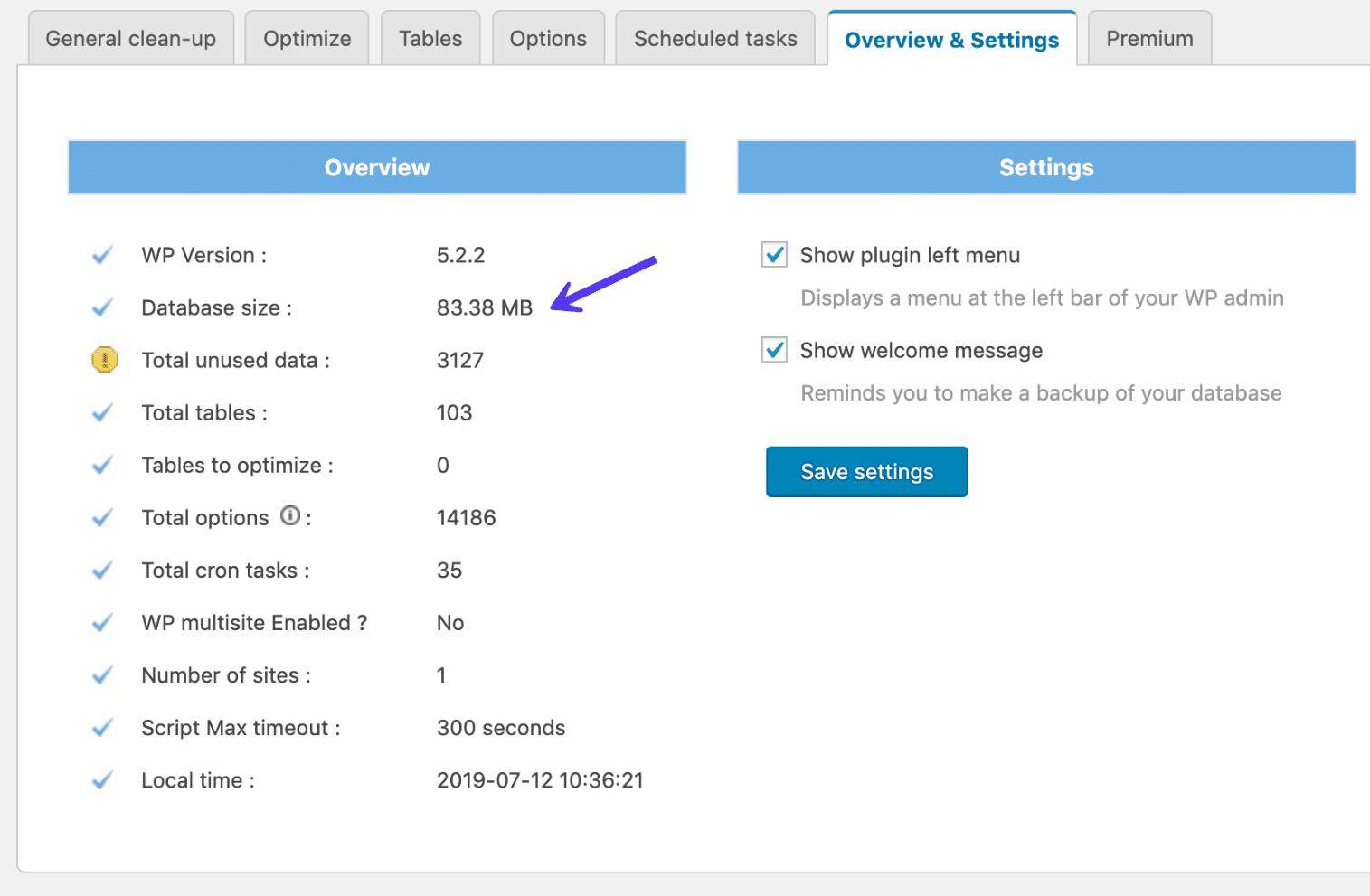 Tamanho total do banco de dados no plugin