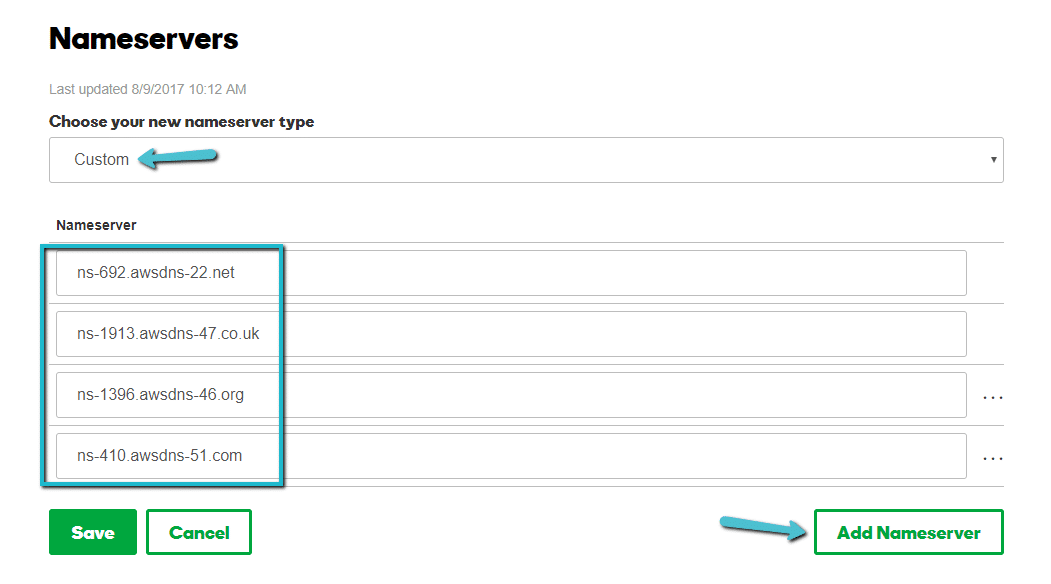 Adicionando os servidores de nomes Kinsta