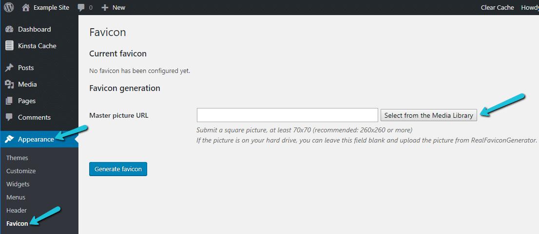 Como adicionar um favicon ao WordPress