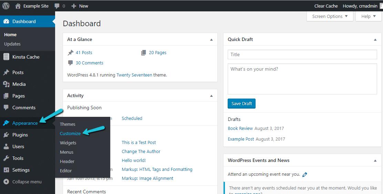 como entrar no WordPress Customizer