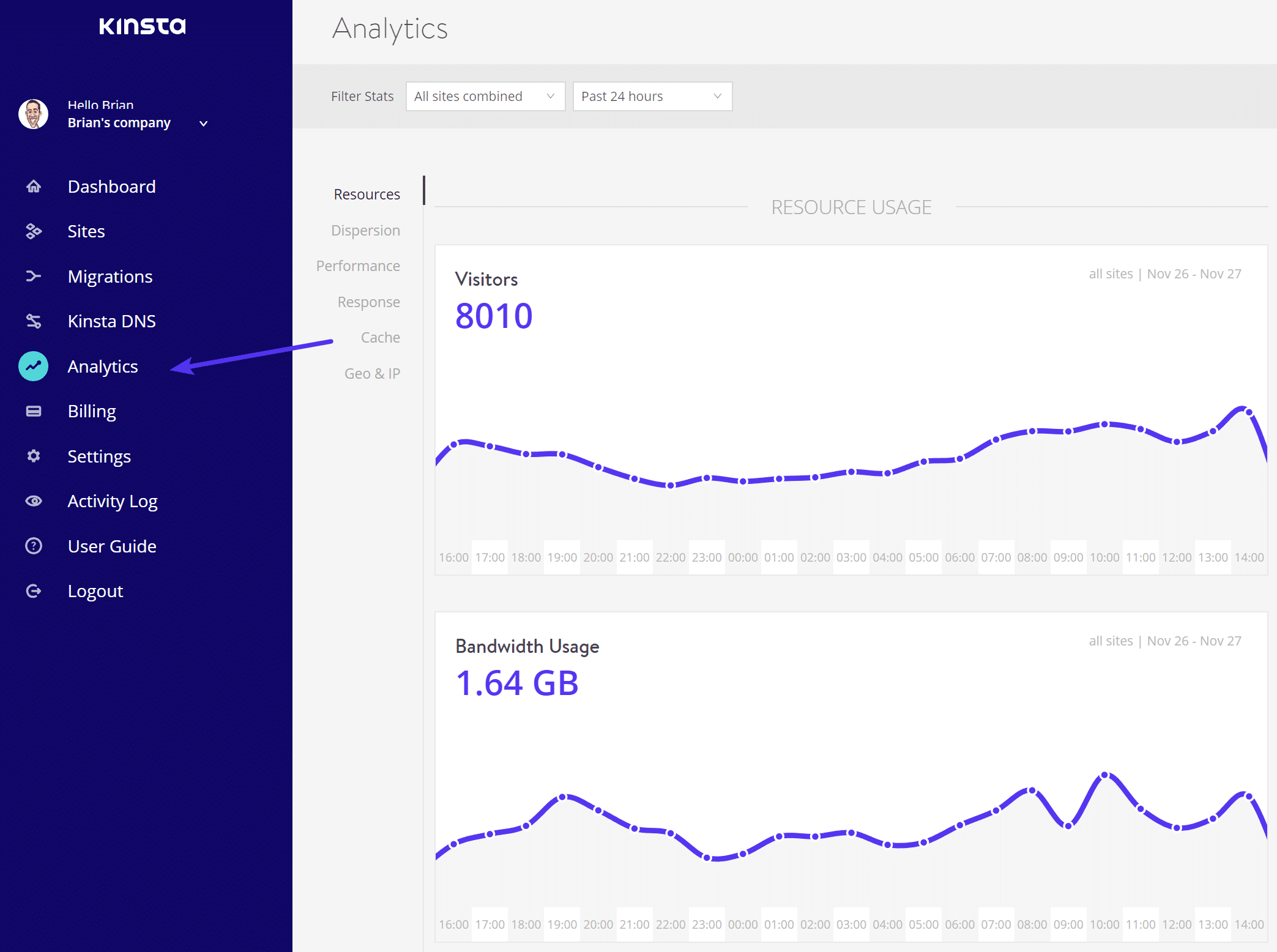 Entrando no MyKinsta Analytics