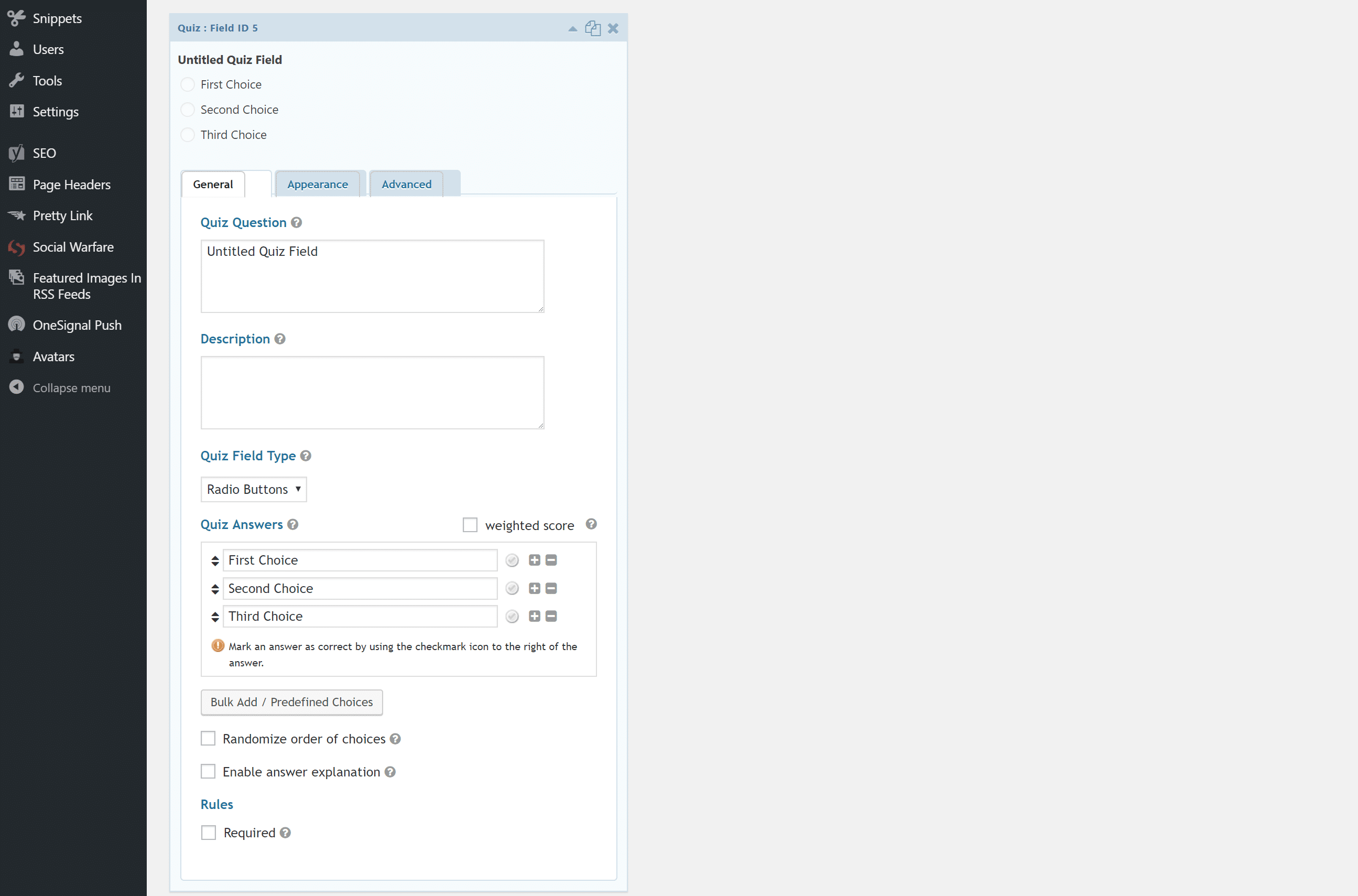Opções de Quiz no Gravity Forms