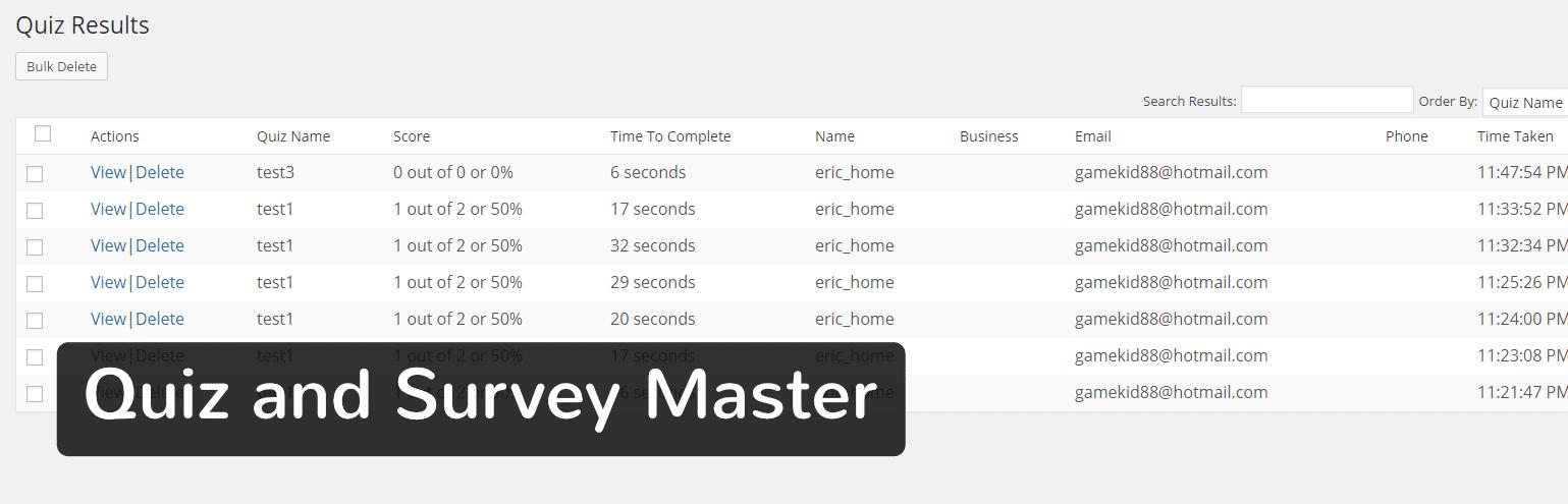 Plugin WordPress Quiz And Survey Master