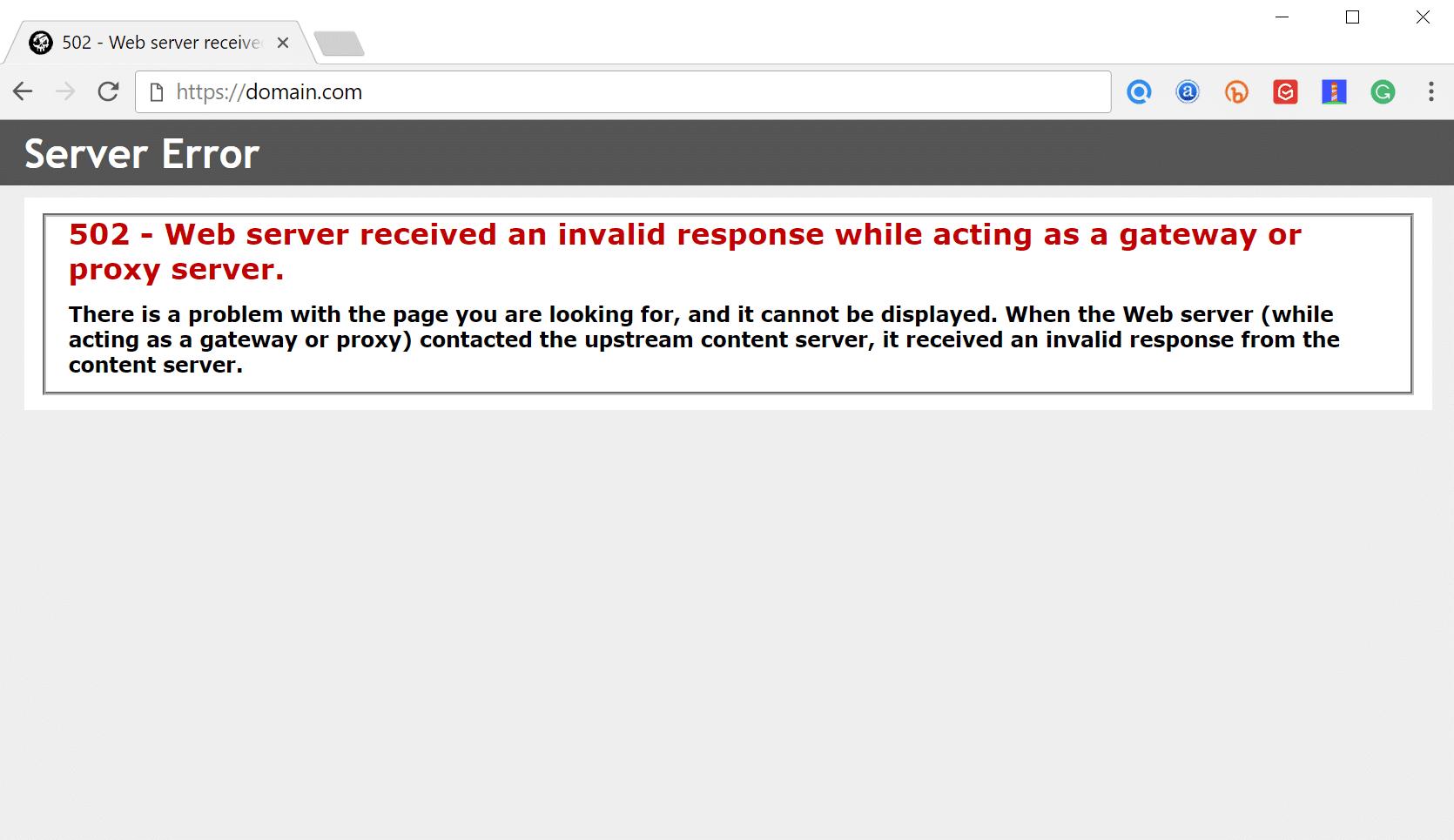 502- o servidor web recebeu uma resposta inválida