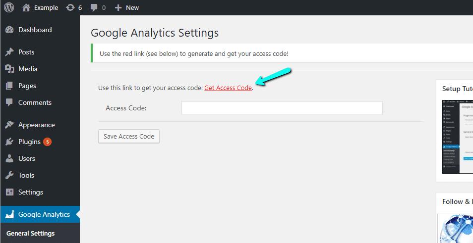 Obtenha o código de acesso do Google Analytics