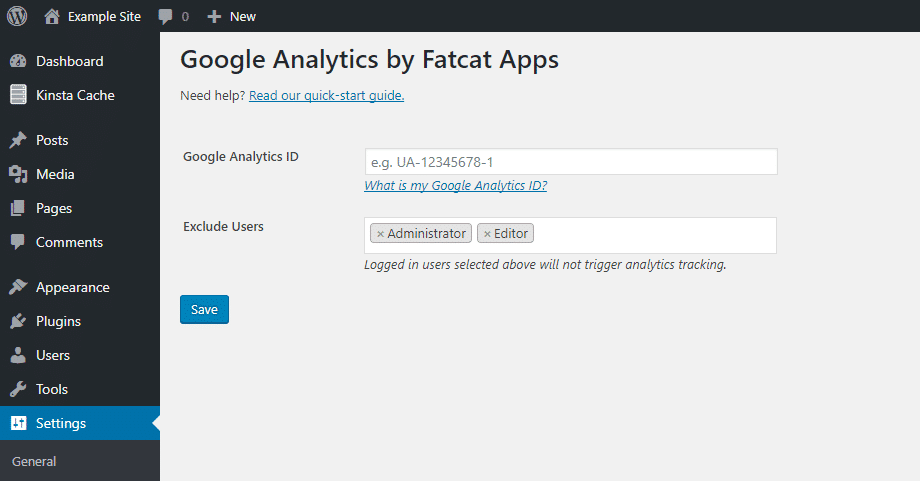 Interface de configuração do Analytics Cat