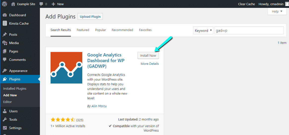 Instalar o painel do Google Analytics para WP