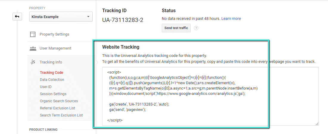 Google Analytics Website Tracking code