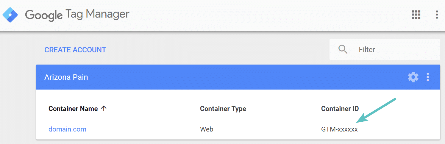 ID container do Gerenciador de Etiquetas do Google
