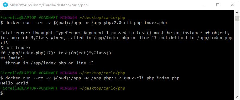 Testando as dicas de tipo no PHP 7.0 e PHP 7.2 usando Docker