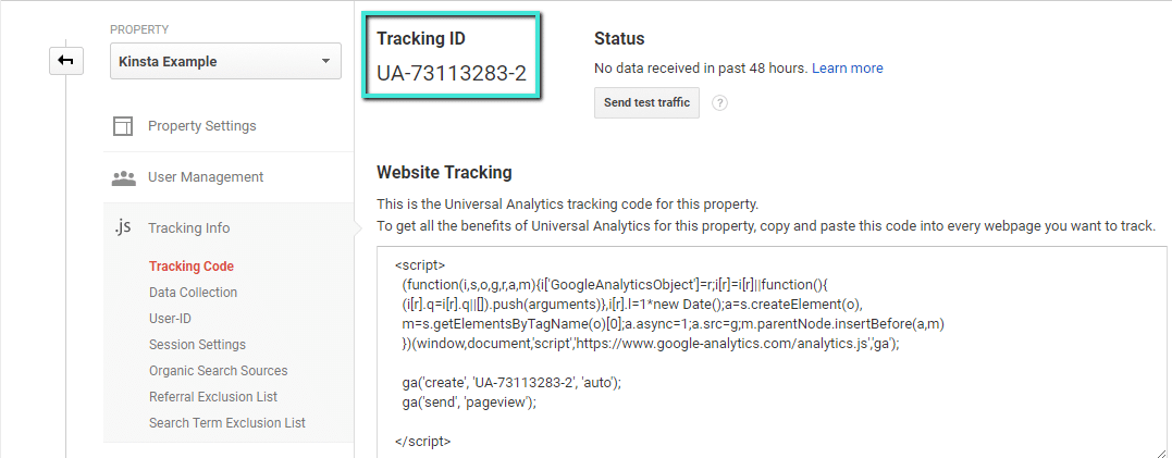 Seu ID de Rastreamento do Google Analytics
