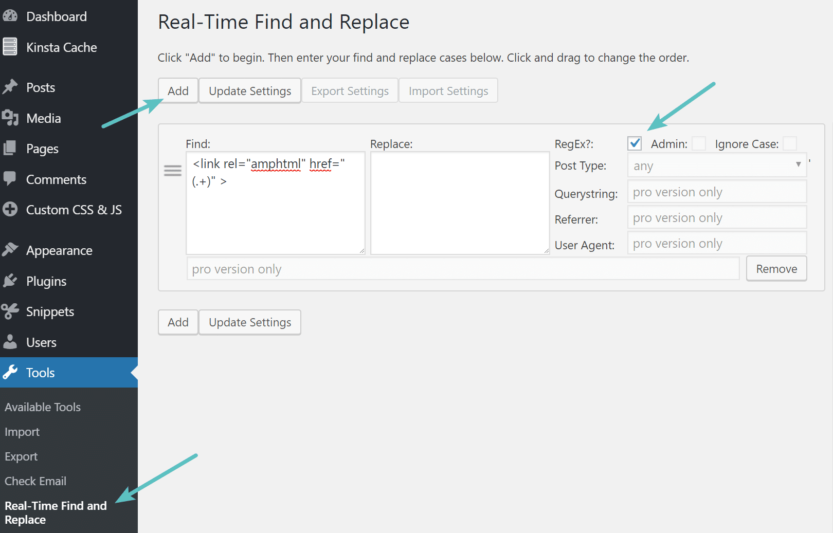 RegEx no plugin Real-Time Find and Replace