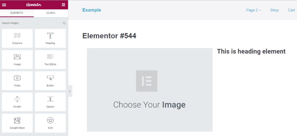 Exemplo de um construtor de páginas WordPress
