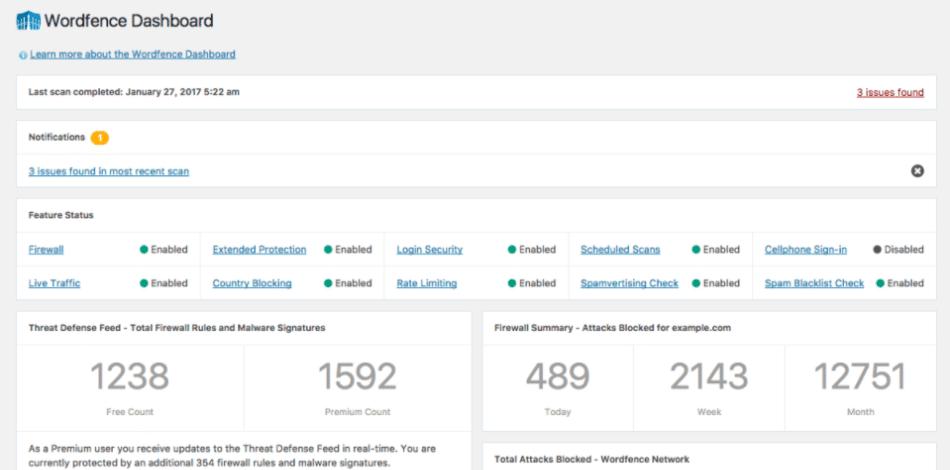Exemplo de um plugin de segurança do WordPress