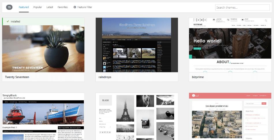 Um exemplo de como você adiciona temas do WordPress para controlar o aspecto do seu site