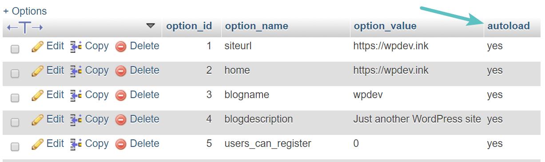 tabela de carregamento automático do wp_opções