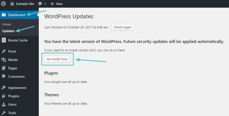 Área de atualizações do painel de controle do WordPress