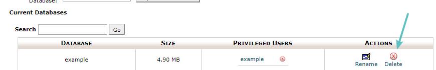 Eliminar base de dados no cPanel