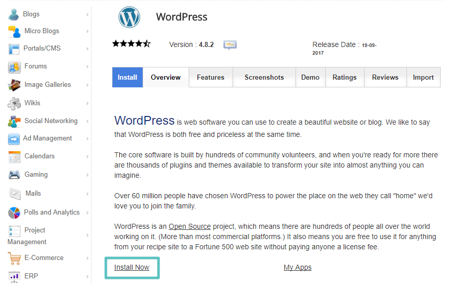 Reinstale o WordPress através do seu método preferido