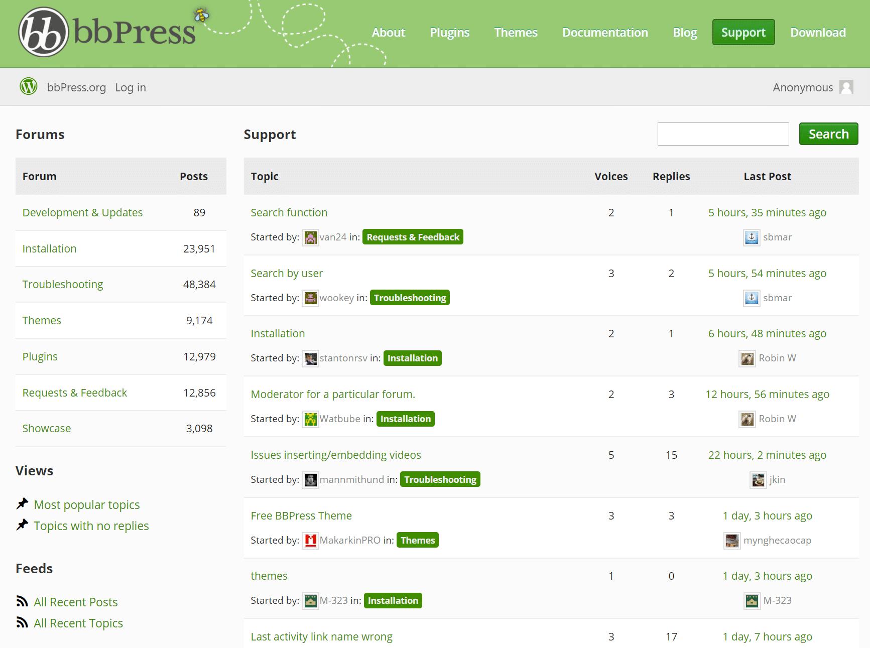 Exemplo de fórum bbPress para WordPress