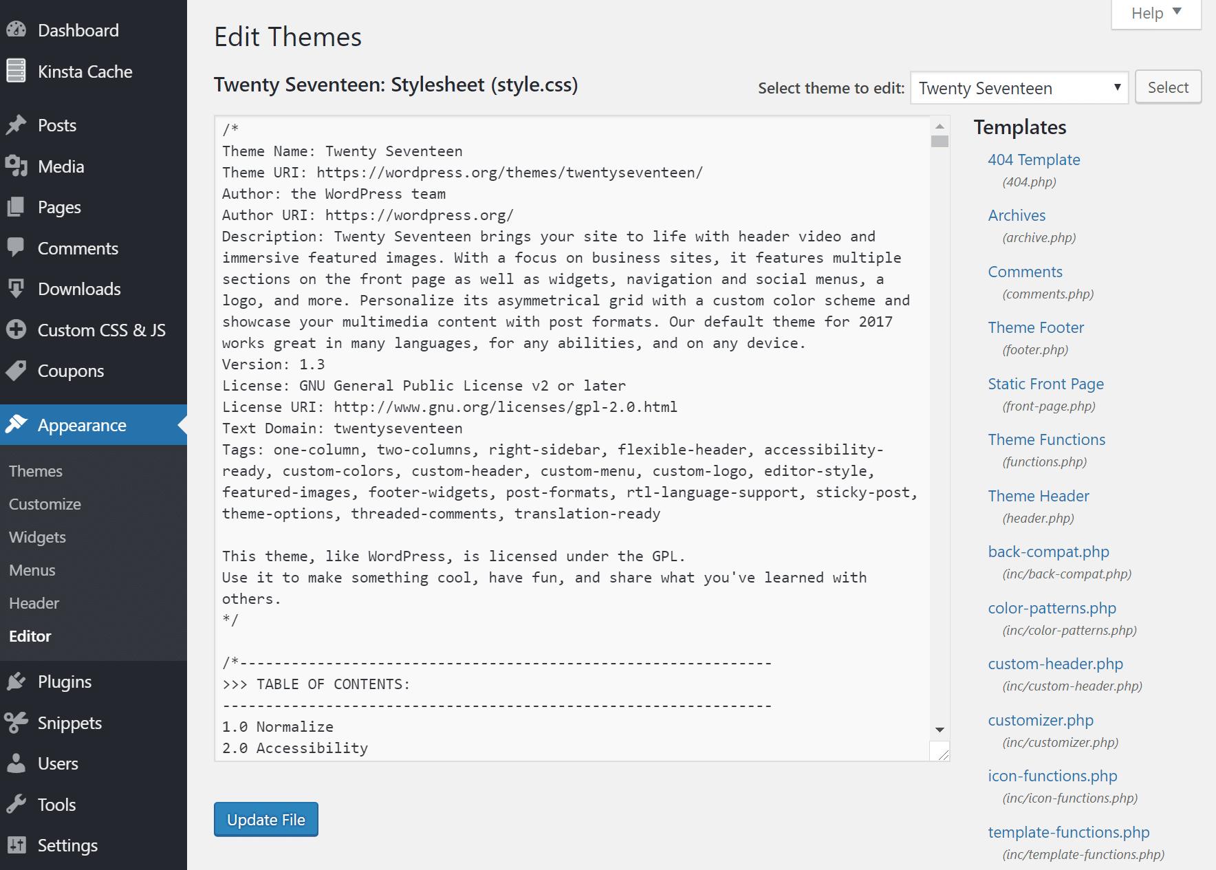 Editor de aparência do WordPress