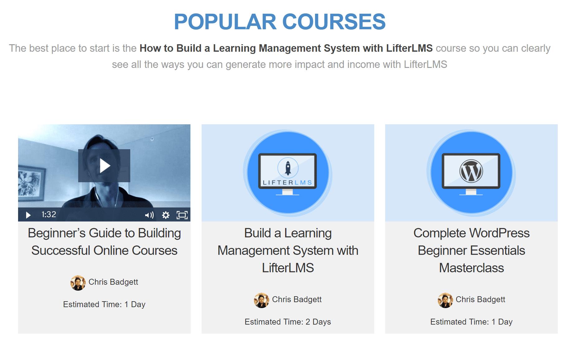 Criando cursos WordPress