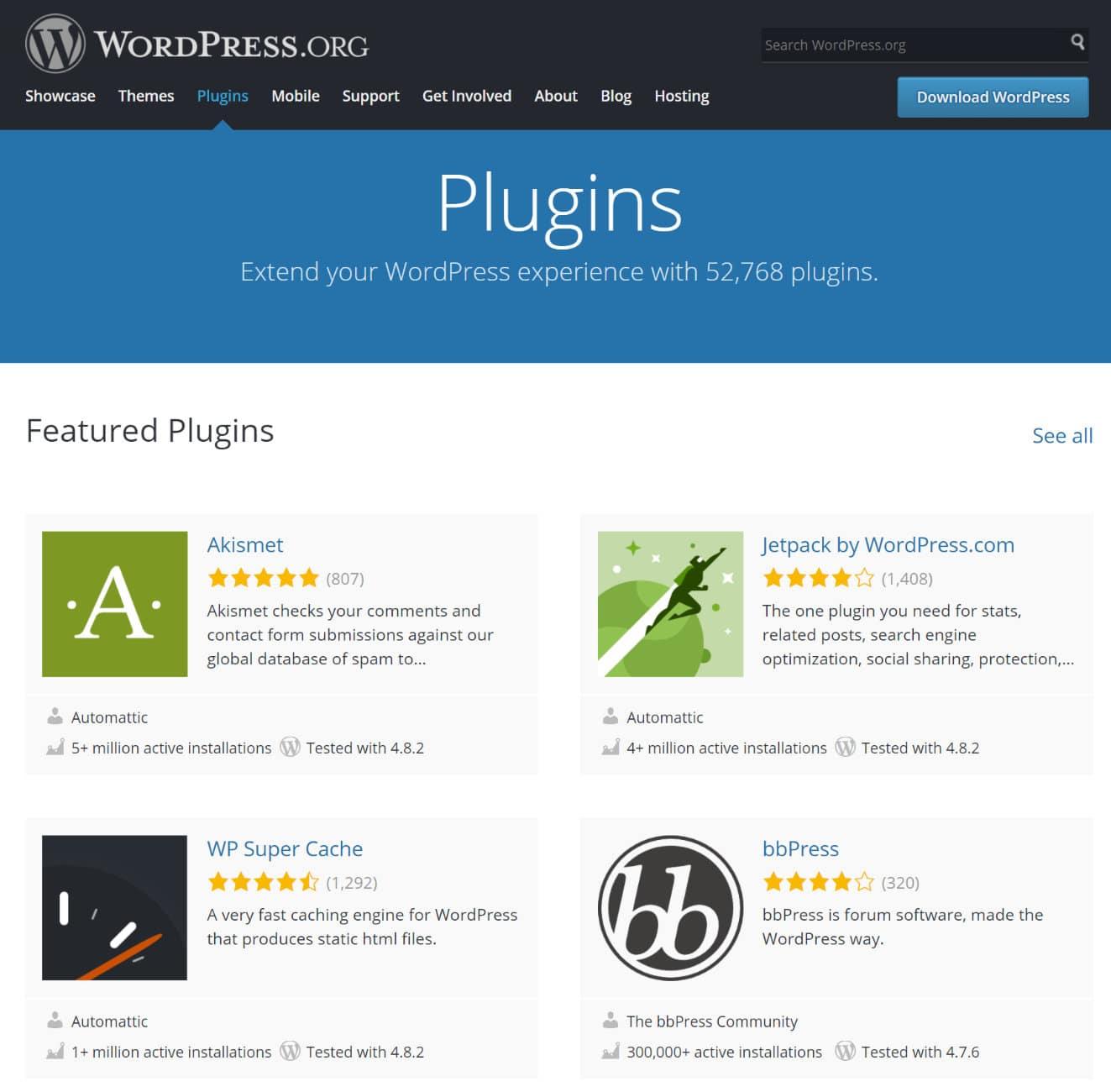 Repositório de plugins do WordPress
