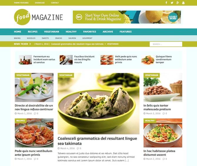 Tema da revista MH para blogs de alimentos