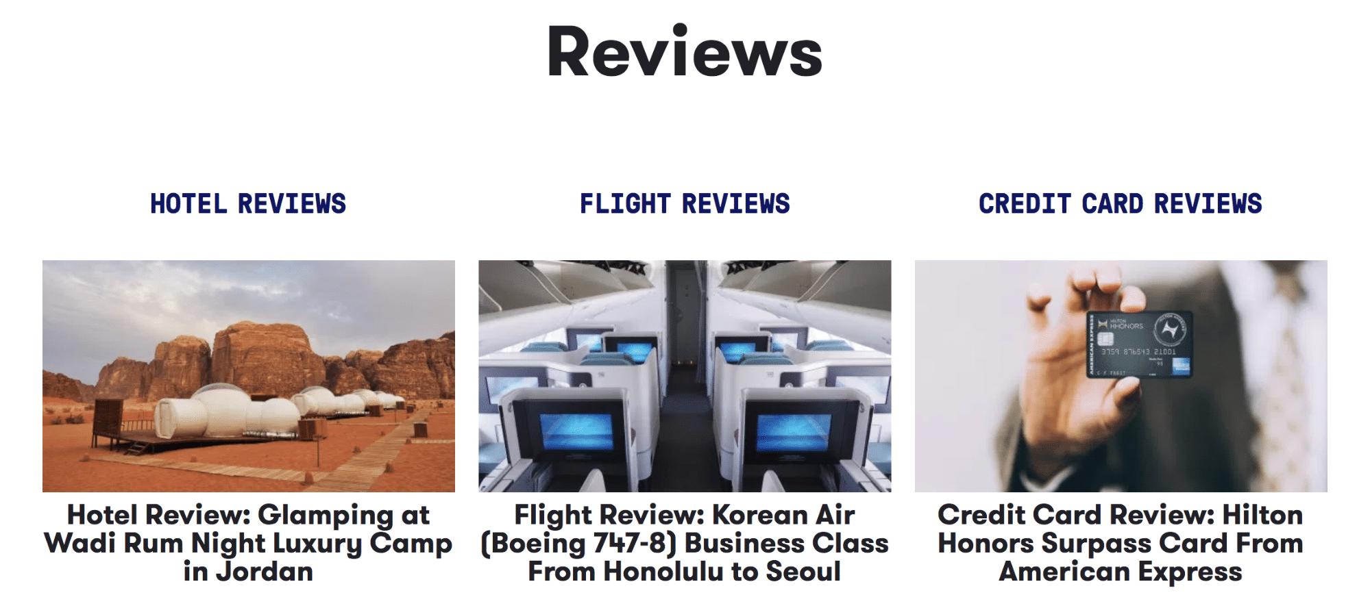 The Points Guy é um blog de viagens que ganha dinheiro com o marketing de afiliados em termos de reservas de hotéis, revisões de cartões de crédito, etc.