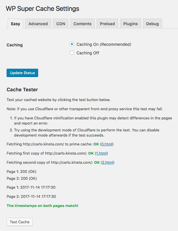 WordPress Super Cache tester