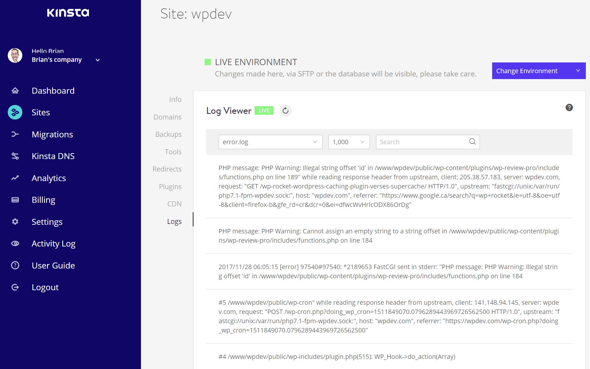 Verificação de registros para o erro interno do servidor 500